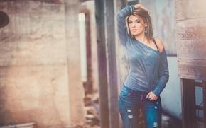 Картинка Girl, Beautiful, Model, Jeans, Hair, Kristen