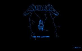 Картинка надпись, молния, логотип, арт, альбом, metal, logo, чёрный фон, metallica, обложка, album, thrash