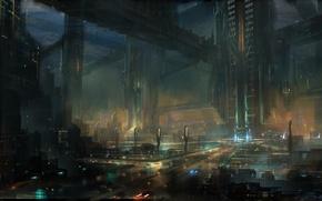 Картинка ночь, город, огни, будущее, арт, мегаполис