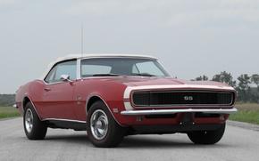 Обои красный, red, convertible, muscle car, 1968, chevy, 396, камаро, кабриолет, шеви, шевроле, camaro, chevrolet, мускул ...