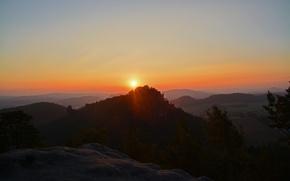 Картинка солнце, рассвет, горы