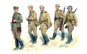 Картинка оружие, рисунок, солдаты, мужчины, пехота, Красная армия