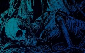 Обои мрак, скелет, смерть, синий