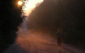 Картинка дорога, лес, велосипед, рассвет, тишина, Утро, девочка