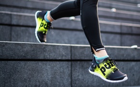 Картинка women, sportswear, workout, sports shoes, stairs