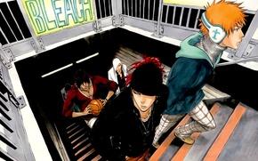 Картинка парни, bleach, Ichigo Kurosaki, anime, Yasutora Sado, Renji Abarai, Uryuu Ishida, Ikkaku Madarame