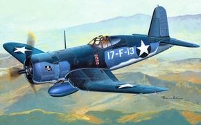 Обои WW2., арт, самолет, морской, амерканский, F4U, острове, эскадрильи, BIRD CAGE, феврале, CORSAIR, составе, Гуадалканал, дебютировали, ...