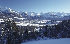Картинка зима, небо, снег, деревья, ели