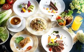 Картинка сок, суп, торт, мясо, овощи, блюда, ассорти