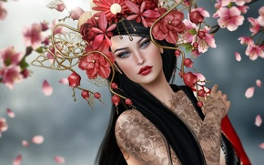 Картинка девушка, цветы, брюнетка, тату, венок