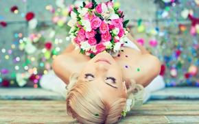 Картинка девушка, цветы, настроение, букет, невеста