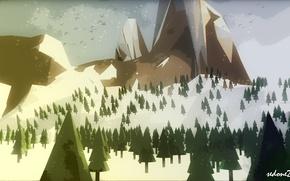 Картинка горы, минимализм, ёлки, low polygonal