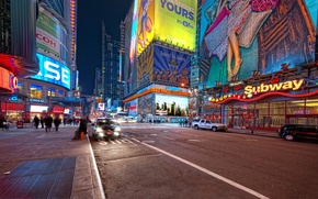 Обои ночь, нью-йорк, night, new york, usa, nyc, Times Square, 42nd and 7th