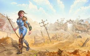 Картинка девушка, арт, свалка, fallout, пустошь, постапокалипсис