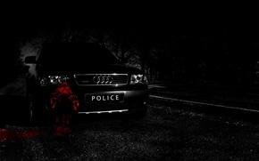 Картинка дорога, машина, лес, ночь, ауди, audi, черный, blood, road, police, night, allroad, woods