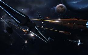 Обои 158, корабли, планета, Бой