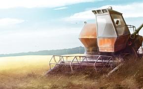 Картинка поле, природа, трактор, комбайн, нива