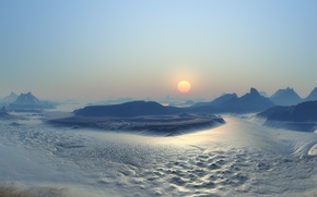 Обои Закат, Солнце, Лед