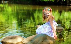 Обои лето, озеро, настроение, девочка