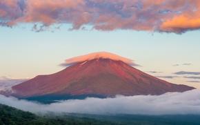 Картинка лето, небо, облака, гора, утро, Япония, восход солнца, Фудзияма, Август, стратовулкан, 富士山, остров Хонсю