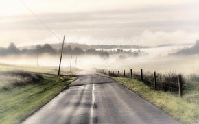 Картинка дорога, пейзаж, стиль, забор