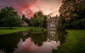 Картинка пруд, замок, Нидерланды, Голландия, Arhem, Zypendaal Castle, Zijpendaal Park
