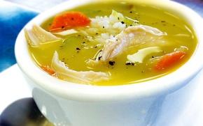 Картинка курица, тарелка, суп, морковь