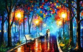 Картинка парк, масло, картина, зонт, пара