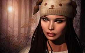 Картинка Девушка, шапка, лицо, фон