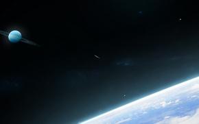 Картинка кольца, комета, планета, звёзды, космос