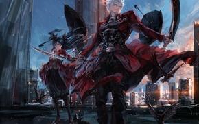 Картинка девушка, аниме, арт, tohsaka rin, fate/stay night, archer, stu dts, upscale