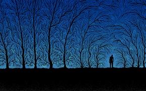 Картинка деревья, ветки, синий, черный, человек