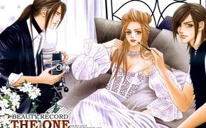 Картинка цветы, модель, фотоаппарат, парни, манга, белое платье, art, Eros Lanson, Angus Lanson, The One, Lele …