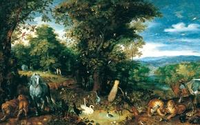 Картинка животные, рай, картина, мифология, Ян Брейгель Старший, Эдемский Сад