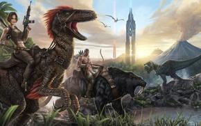 Обои арт, archer, tower, art, охотник, башня, sabertoothed tiger, саблезубый тигр, velociraptor, ARK Survival Evolved, tyrannosaur, ...
