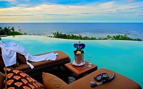 Картинка terrific infinity pools, fresh drink, blue sea view
