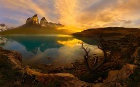 Картинка утро, Чили, Южная Америка, Патагония, горы Анды, национальный парк Торрес-дель-Пайне