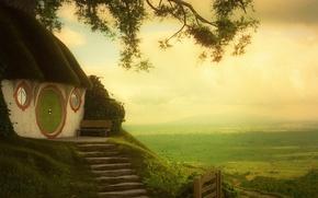 Картинка зелень, нора, властелин колец, арт, лавочка, ступеньки, домик, Шир, The Shire, the lord of the …