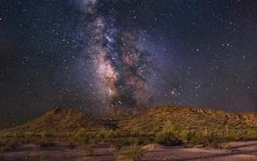 Картинка звезды, забор, холм, Млечный Путь, тайны