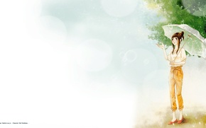 Картинка лето, капли, листва, зонт, Say i love you, Mei Tachibana, летний дождь, Скажи «Я люблю …