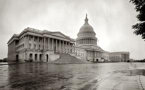 Картинка ретро, Вашингтон, США, Капитолий, округ Колумбия, Конгресс, 1908-й год