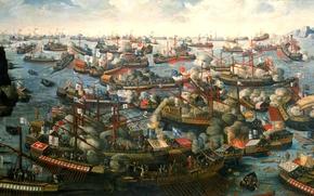 Картинка масло, картина, холст, морское сражение, мыс Скрофа, Патрасский залив, 7 октября 1571 года, «Битва при …