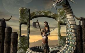 Картинка девушка, змей, воительница, black lotus