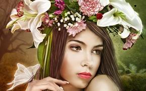 Картинка взгляд, девушка, цветы, лицо, бабочка, руки, арт, венок