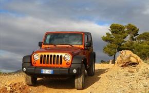 Картинка оранжевый, внедорожник, Джип, orange, рубикон, rubicon, jeep wrangler
