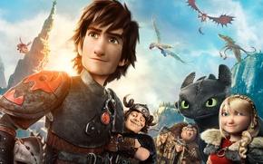 Картинка Dark, Action, Fantasy, Dragon, Green, DreamWorks, Wallpaper, Family, Eyes, Boy, Animation, Viking, Toothless, Movie, Mask, ...