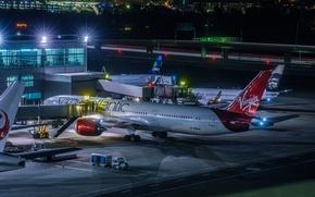 Картинка ночь, огни, аэропорт, самолёт, Airbus