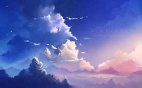 Картинка небо, облака, деревья, арт, airplanes, apofiss