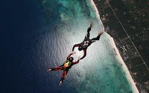 Картинка пляж, риф, парашютисты, экстремальный спорт, парашютизм, formation skydiving, 2-way FS