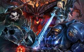 Картинка Warcraft, Starcraft, Diablo, Blizzard Entertainment, heroes of the storm art